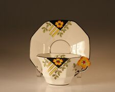 Melba China Art Deco Octagon Floral Handle  Cup and Saucer, England c. 1930s