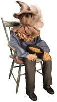 Sitting Scarecrow Animated Prop Porch Greeter Halloween Animatronic Lifesize