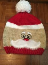 Santa Face And Mustache D & Y Knit With White Beanie Hipster Hat Sock Cap Winter