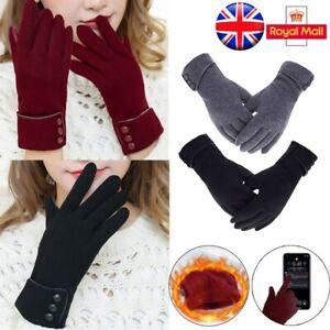 Women Ladies Winter Warm Gloves Fleece Lined Thermal Touch Screen Gloves Warm UK