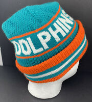 Vintage MIAMI DOLPHINS Knit Winter Hat Beanie NFL Football Made In USA