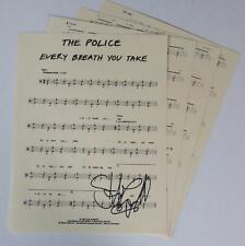 """Stewart Copeland THE POLICE Signed Autograph """"Every Breath You Take"""" Drum Chart"""