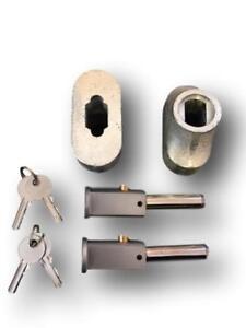 x TWO  Roller Shutter Bullet Locks c-w Housings (1 Pair) Round Face Style