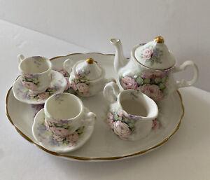 10Pc Doll English Tea Set Mini Bone China Pink & Lavendar Rose Floral England