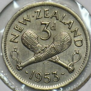 New Zealand 1953 3 Pence 903642 combine shipping