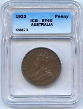 1922 Australia Penny. ICG Graded EF 40. Lot #2248