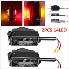 2PCS Truck Trailer Tail 14LED Light Stop Rear Turn Signal Indicator Red + Amber
