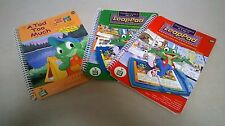 Lot of THREE (3) Leapfrog LeapPad BOOKS Assorted Ages 4 to 10 NO Cartridges. (B)