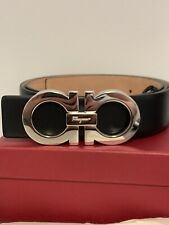 NEW Mens SALVATORE FERRAGAMO LEATHER PALLADIUM GANCINI BELT Auth. Silver Size 42