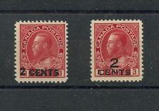Admiral 2c overprints on 3c, MNH, & MLH, Cat $140 Canada mint