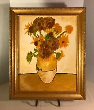 """Original Naive Oil on Canvas Painting After Vincent Van Gogh's """"Sunflowers"""""""