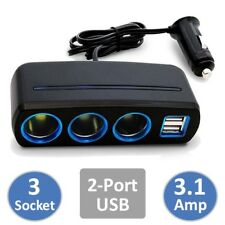 3 Way Cigarette Lighter Socket Splitter Dual USB 3A Charger Car Power Adapter