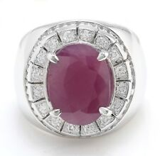 8.60 Carat Natural Ruby & Diamonds 14K Solid White Gold Men's Ring