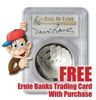 2014-P Baseball HOF Silver $1 -- PCGS PR70 -- Hand Signed By Ernie Banks