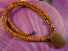 ANCIENT BURMESE OVAL SHAPE EYE BEAD NECKLACE SILVER AND ANTIQUE BAUXITE CUSTOM