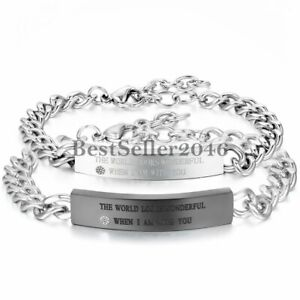 His & Hers Matching Stainless Steel Mens Womens Couples Chain Cuff Bracelet Gift