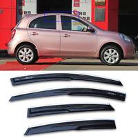 For Nissan March Black Tinted Car Chrome Trim Window Visor Vent Shade Sun Guard