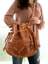 Moroccan Tribal Embossed Tooled Leather Bag Hobo Handbag