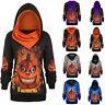 Plus Size Women Halloween 3D Pumpkin Print Convertible Hoodie Sweater Top Blouse