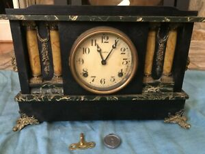 Antique E. Ingraham Mantel Clock Wood Pillars Pendulum Black & Gold Runs w/ Key