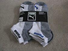 Puma Men's 6 pair Low Cut  Men Socks 10-13 White Grey