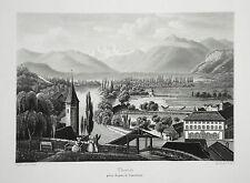Thun Thuner See Thoune Thoun Eiger Mönch Jungfrau seltene  Aquatinta 1820
