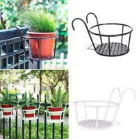 Metal Iron Flower Stand Pot Hanging Balcony Garden Plant Basket Holder Rack Tool