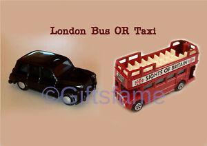 London Double Decker Red Bus Black Cab Taxi Die Cast Souvenir Memento Metal Toy