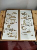 "Vintage Asian Oriental Reverse Painted Glass Mirror Lot of 2 Temple 25"" X 11"""