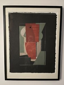 """Marion Jacobs (1943-2002), Huge Abstract Collage, """"Seeing and Hearing"""", Framed"""