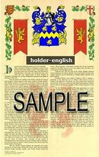 HOLDER Armorial Name History - Coat of Arms - Family Crest GIFT! 11x17