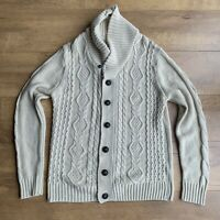 BURTON Men's Cream Ivory Aran Style Cardigan Size Medium Shawl Neck Button Up