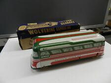 VINTAGE 1950'S WOLVERINE EXPRESS BUS- NOS W/ BOX- TIN LITHO BUS- VINTAGE TOY BUS