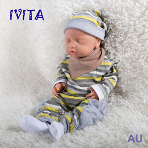 IVITA 18'' Full Silicone Reborn Girl Doll Eyes Closed Take A Pacifier Cute Baby