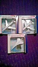 Brand New & Boxed Set of 3 Welly British Airways Diecast Model Aeroplanes Concor