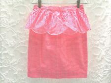 Lilly Pulitzer  Skirt Pink Thyme  Sz 4 Scalloped Ruffled Peplum Gingham