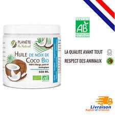 500 ml Huile de Coco Bio 100% Vierge Pure Agriculture Biologique Cuisine et Soin