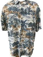 Island Shores shirt men size 2XL Hawaiian rayon palm tree grass hut short sleeve
