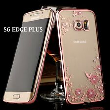 Samsung Galaxy S6 Edge+ Plus -TPU RUBBER DIAMOND CASE ROSE GOLD FLOWER BUTTERFLY