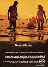 """1969 PanAm Pan """"Marriage of the Rocks"""" Couple on the Beach with Kids PRINT AD"""