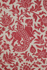 Antique French Fabric Grotesque pattern Gothic dragon red pink RARE c1870 red
