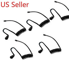 5 PACK BLACK COILED EAR TUBES FOR RADIO EARPIECE HEADSET WALKIE MIC KIT AIR TUBE