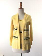 Vintage 1960s 70s yellow sweater set small medium polyester costume top cardigan