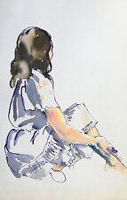 Fauvist Watercolor Painting Brunette Woman Girl Figure Portrait PA Artist