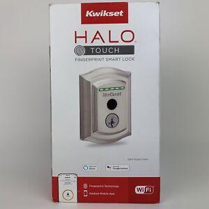 Kwikset Halo Touch Contemporary Fingerprint Wi-Fi Smart Lock in Satin Nickel NEW