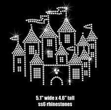 "5.1"" CHILD Disney Castle iron on rhinestone transfer applique bling patch"