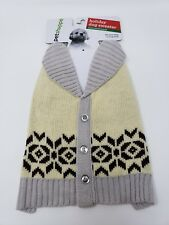 PET SHOPPE Dog Winter Sweater Cream Gray Buttons XSmall Small 12-19 lbs