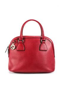 Gucci Calf Dollar Rosso Leather Zip Bowler Shoulder Handbag Red Gold Tone