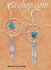 Sterling Silver Turquoise Dreamcatcher Earrings With Feather On French Wires