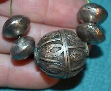 Antique Yemeni Handcrafted Fabricated Bedouin Ethnic Silver Beads From Yemen